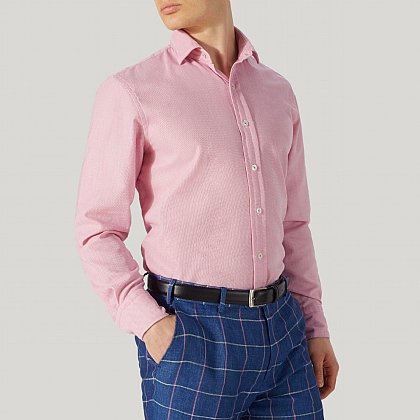 Pink Cotton Casual Shirt