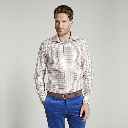 Blue and Red Country Check Button Cuff Classic Fit Shirt