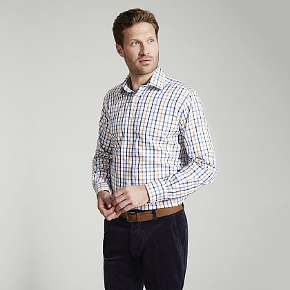 Navy and Gold Check Button Cuff Classic Fit Shirt