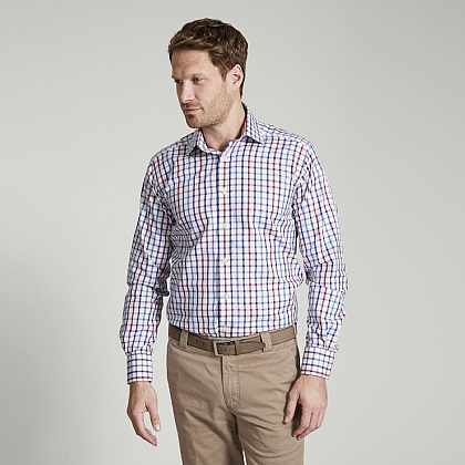 Navy and Red Check Button Cuff Classic Fit Shirt