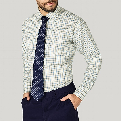Blue and Olive Check Cotton Classic Button Cuff Shirt