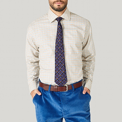 Blue and Orange Check Cotton Classic Button Cuff Shirt