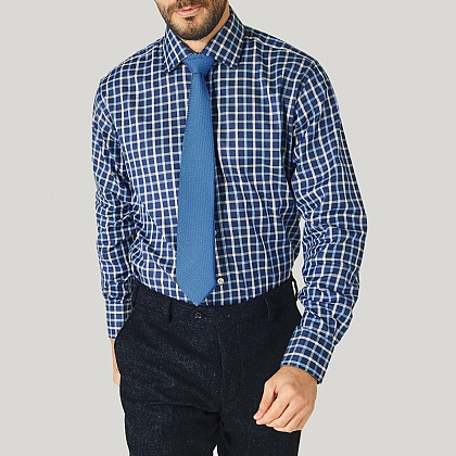Navy Check Cotton Classic Button Cuff Shirt
