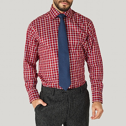 Cranberry Check Cotton Classic Button Cuff Shirt