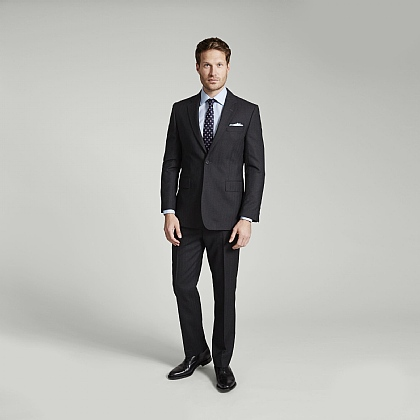 Grey Herringbone Merino Wool Suit