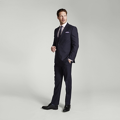 Navy Herringbone Merino Wool Suit
