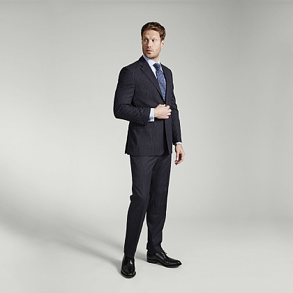 Navy Fine Stripe Merino Wool Suit
