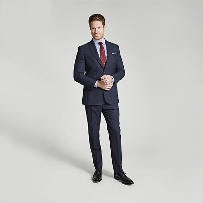 Light Navy Birdseye Merino Wool Suit