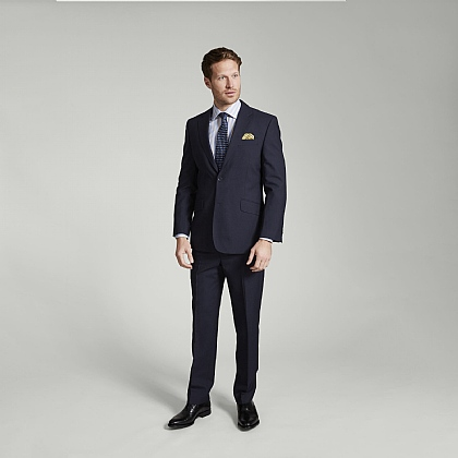 Navy Hopsack Wool Suit