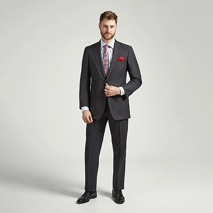 English Superfine Mid Grey Hopsack Suit