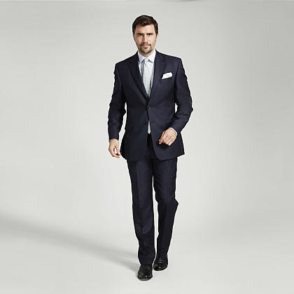 Navy Narrow Herringbone British Wool Suit