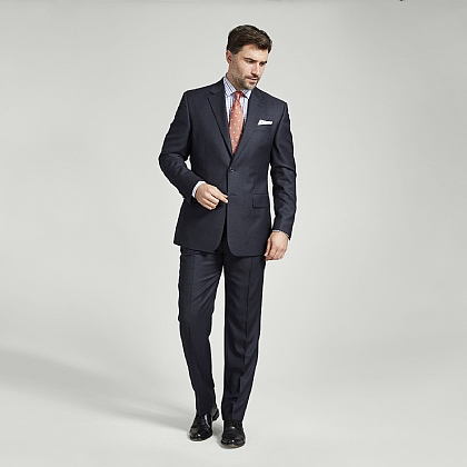 Navy Birdseye Italian Super 120s Wool Suit