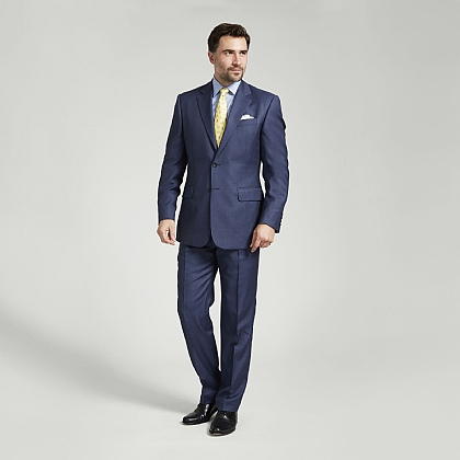 Blue Micro Houndstooth Italian Wool Suit