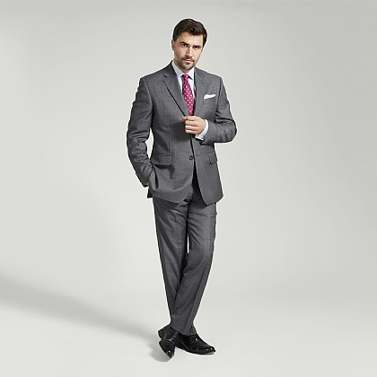 Grey Micro Houndstooth Italian Wool Suit