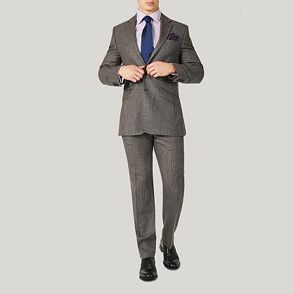 Brown Prince of Wales Wool Classic Fit Suit