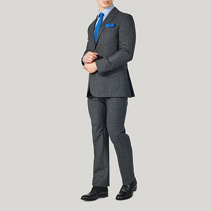 Grey Prince of Wales Wool Classic Fit Suit