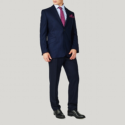 Navy 100% Wool Flannel Suit