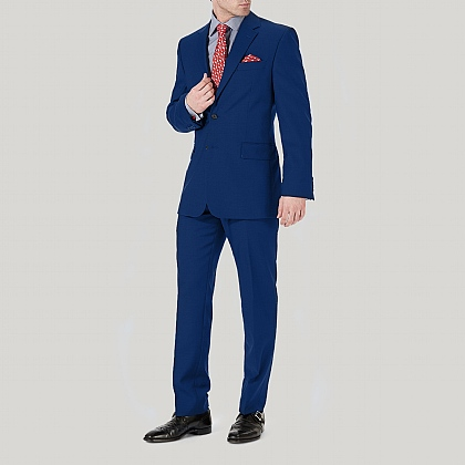 Bright Blue Wool Classic Fit Suit