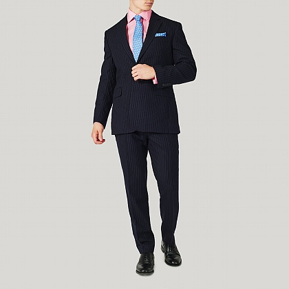 Navy Wool Stripe Classic Fit Suit