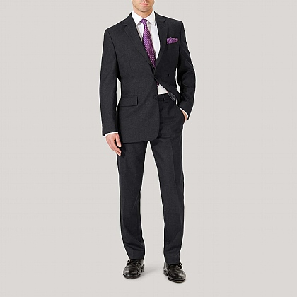 Grey Plain Wool Classic Suit
