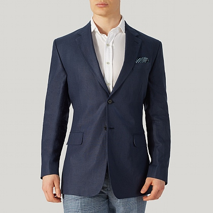 Navy Linen Mixer Single Breasted Jacket