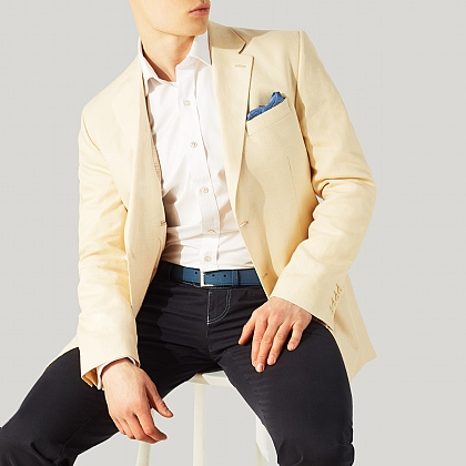 Beige Linen Mixer Single Breasted Jacket