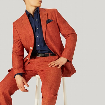 Rust Red Pure Linen Jacket