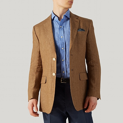 Coffee Brown Pure Linen Jacket