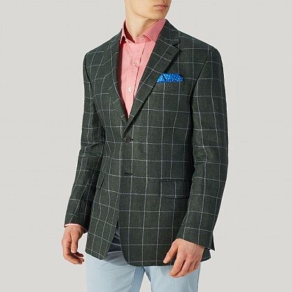Bottle Green Check Linen Jacket