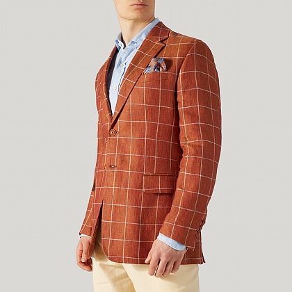 Burnt Orange Check Linen Jacket