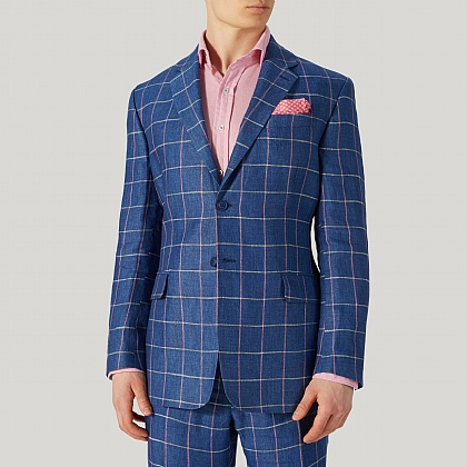 Indigo Blue and Pink Check Linen Jacket