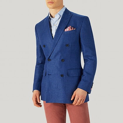 Bright Blue Double Breasted Wool and Linen Jacket