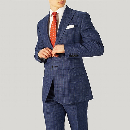 Blue Sports Prince of Wales Check Wool and Linen Jacket