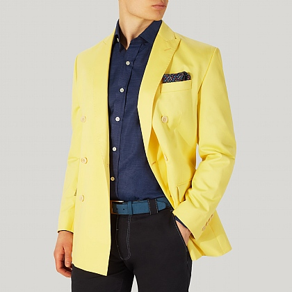 Light Yellow Double Breasted Cotton Jacket