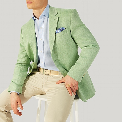Emerald Green Herringbone Linen Jacket