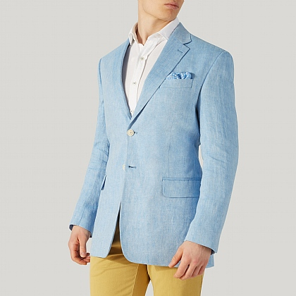 Sky Blue Herringbone Linen Jacket