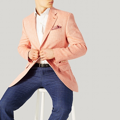 Salmon Red Herringbone Linen Jacket