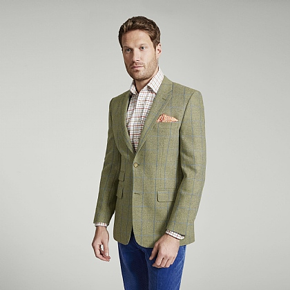 Sage Herringbone and Blue Check Tweed Jacket