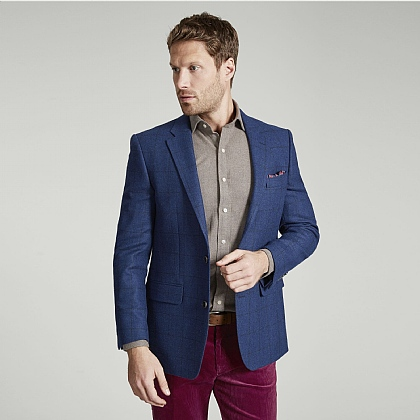 Airforce Blue Check Tweed Jacket