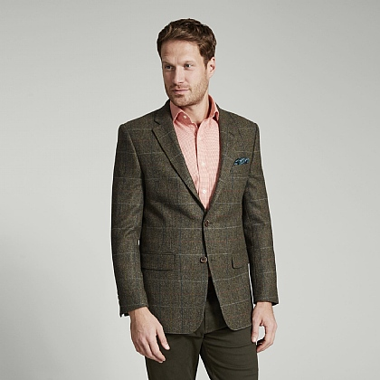 Khaki Blue Check Tweed Jacket