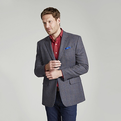 Grey Tweed Blue Red Overcheck Jacket