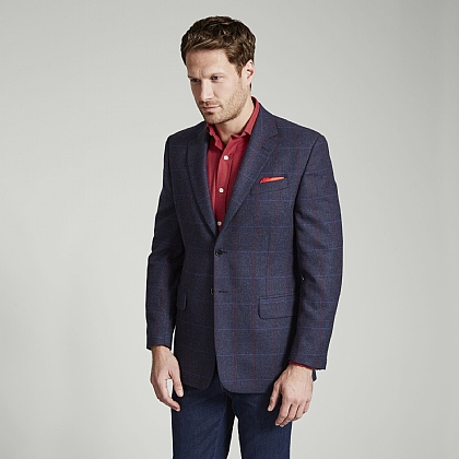 Navy Tweed Blue Red Overcheck Jacket