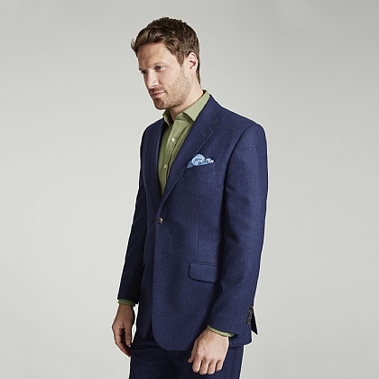 Navy Soft Flannel Wool Blazer