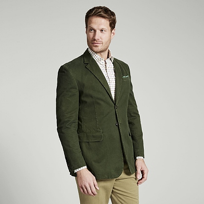 Forest Green Cotton Unstructured Jacket