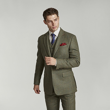 Dark Green Check Tweed Jacket