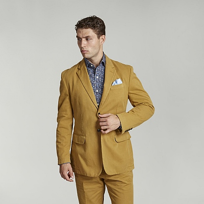Mustard Unstructured Cotton Jacket