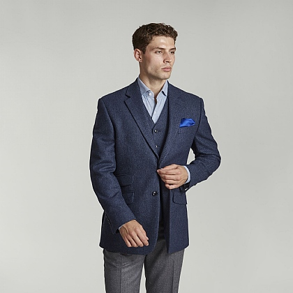 Blue Herringbone Tweed Jacket