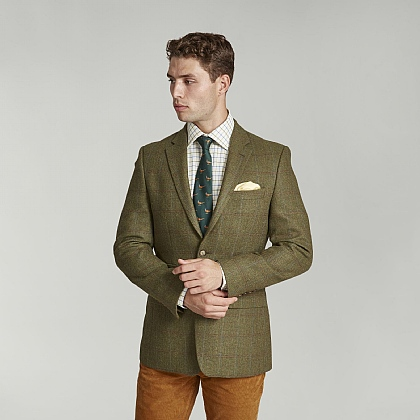 Olive Green Check Tweed Jacket