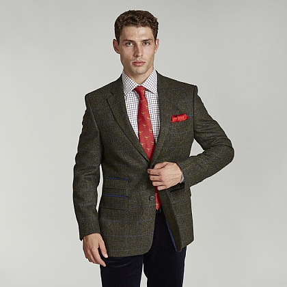 Bottle Green Check Tweed Jacket