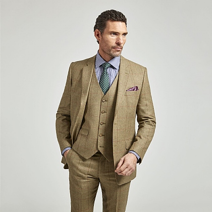Sage Green Check Wool and Cotton Jacket